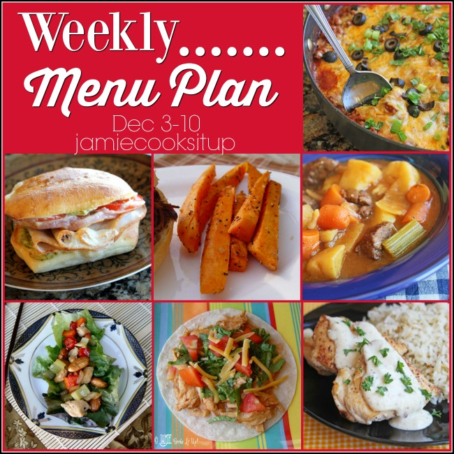 Weekly Menu Plan, Dec 3-10