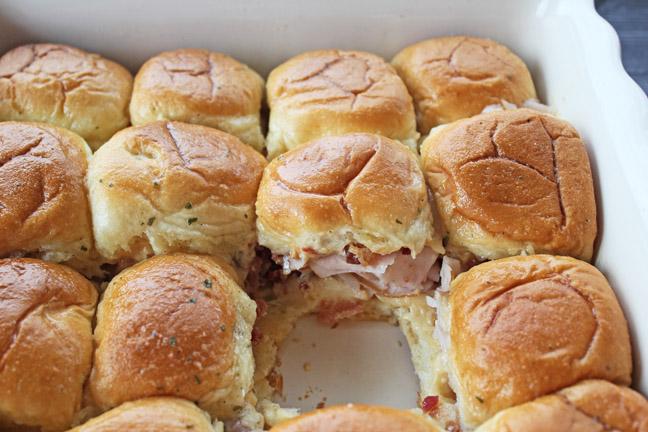 Hot and Cheesy Turkey Bacon Sliders