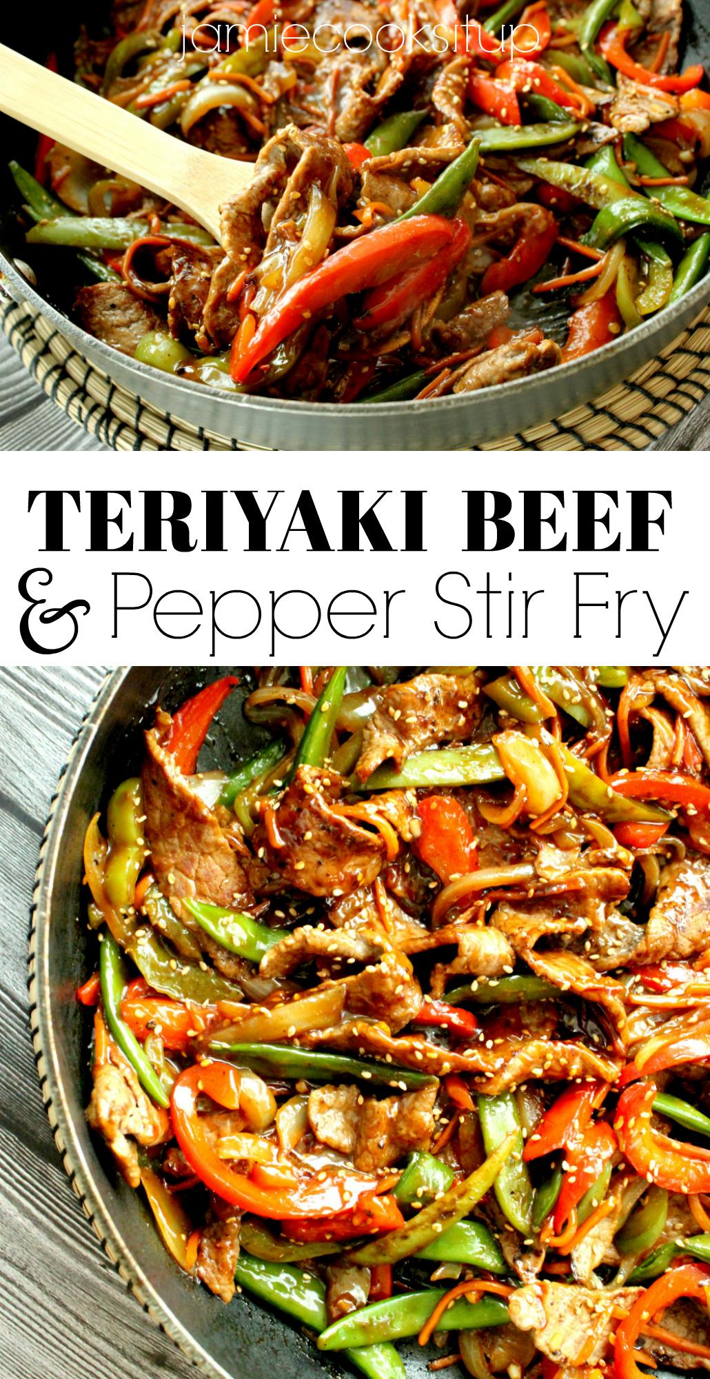 teriyaki beef and pepper stir fry