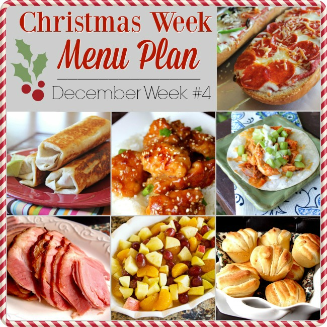 Menu Plan, Christmas Week December 2018