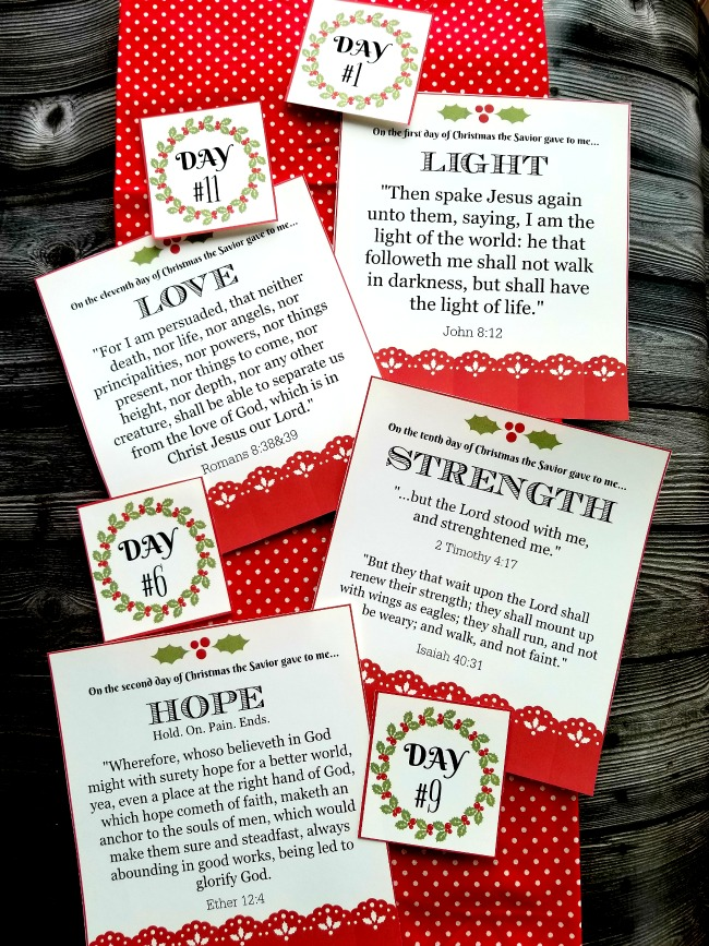 12 Days of Christmas (gifts of the Savior) with Free Printable Cards and gift ideas