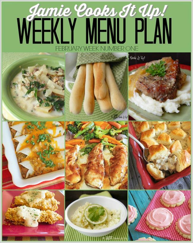 Menu Plan, February Week #1