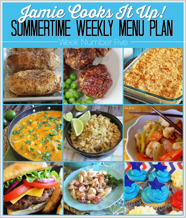Summertime Menu Plan, Week #5 and Fun Fourth of July Food Ideas