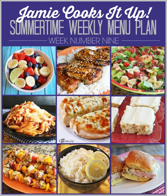Summertime Menu Plan, Week #9-2019