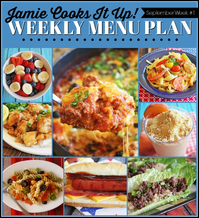 Menu Plan, September Week #1-2019