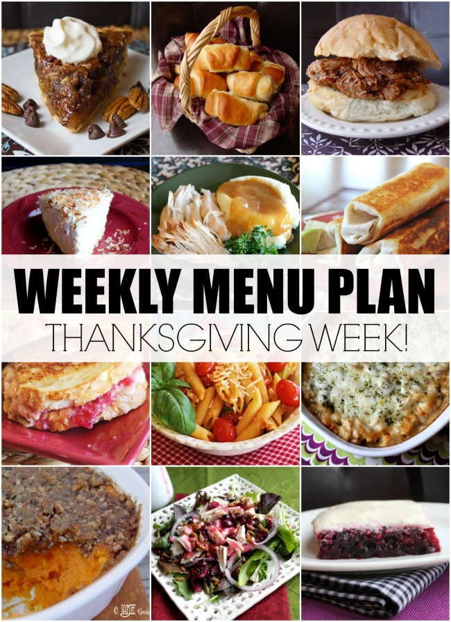 Menu Plan, THANKSGIVING WEEK!