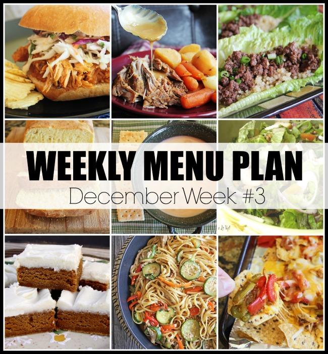Menu Plan, December Week #3-2019