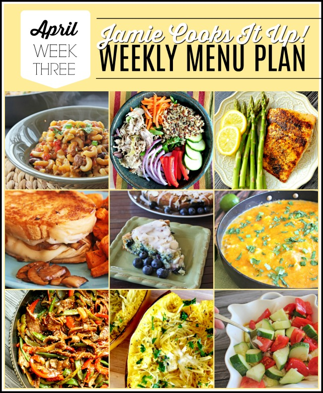 April Menu Plan, Week #3-2020