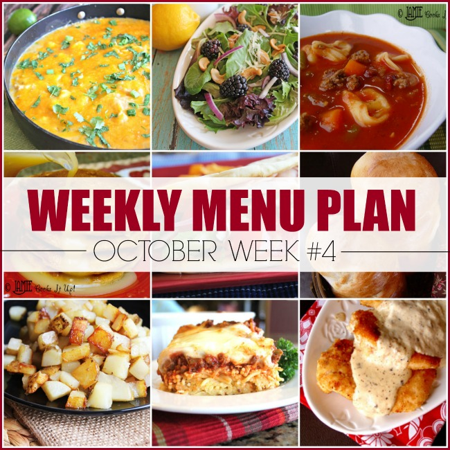 October Menu Plan, Week #4-2020