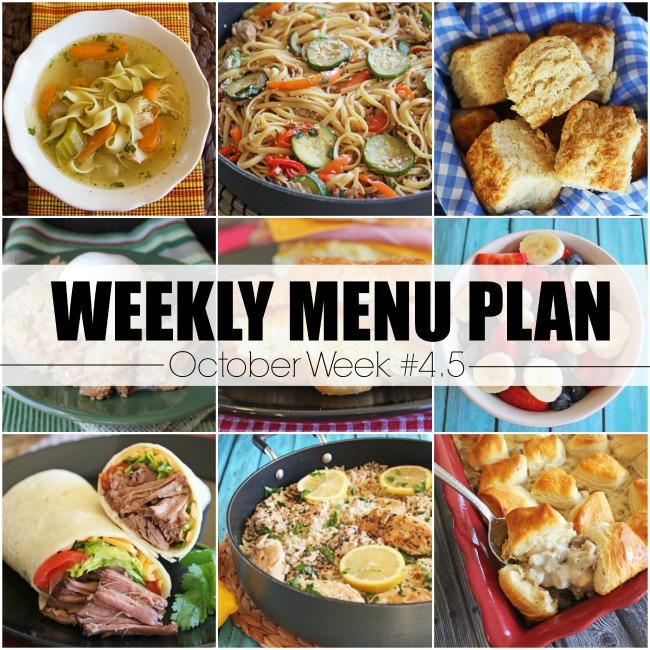October Menu Plan, Week #4.5-2020