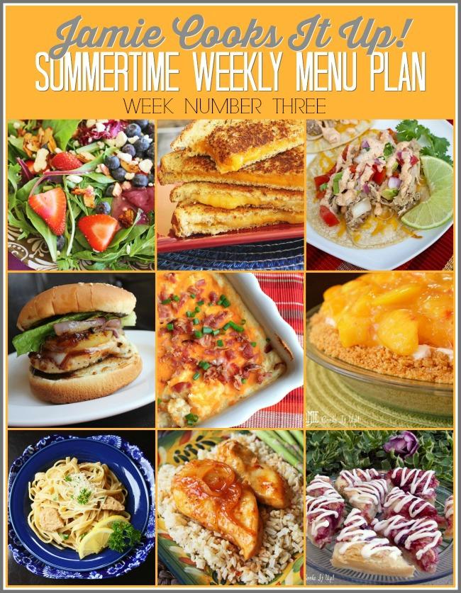 Summertime Menu Plan, Week #3-2021